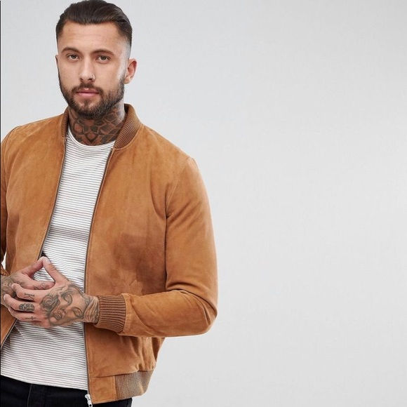 cee8d7b81 HP 🎊 ASOS Bomber Suede Brown Jacket